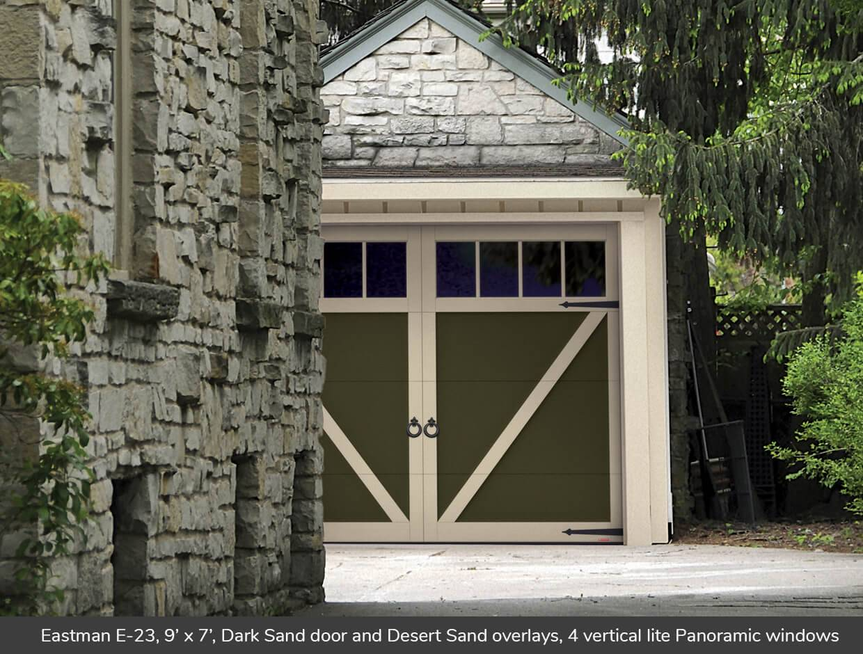Eastman E-23, 9' x 7', Dark Sand door and Desert Sand overlays, Panoramic 4 vertical lite windows